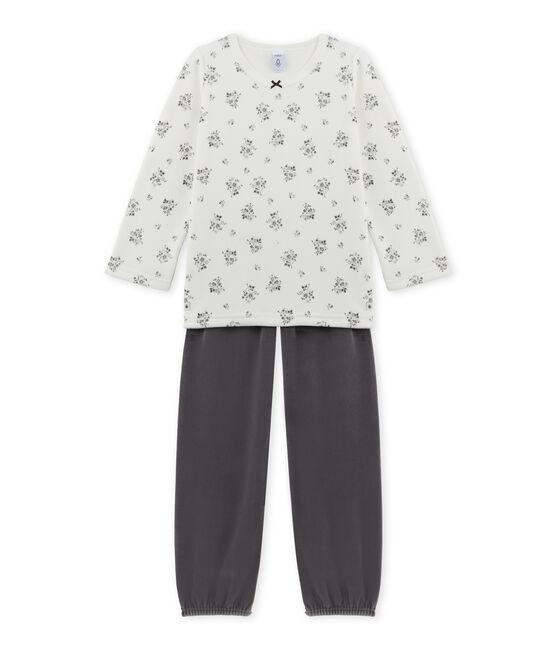 Mädchen-Schlafanzug aus Velours-Frottier grau Maki / weiss Lait