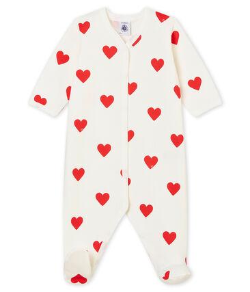 Baby-Strampler aus Molton für Mädchen-Jungen weiss Marshmallow / rot Terkuit