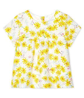 Baby-Bluse aus Leinen für Mädchen weiss Marshmallow / weiss Multico