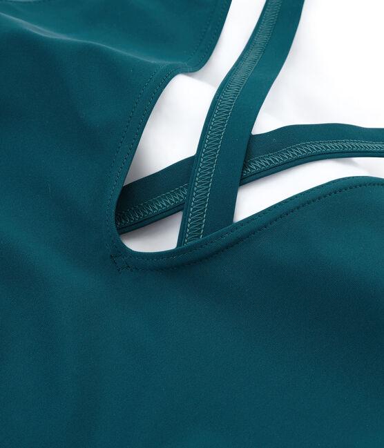 Einteiliger damen-badeanzug am rücken gekreuzt grün Pinede