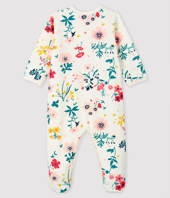 Baby-Strampler aus Samt mit Blumen-Druck für Mädchen weiss Marshmallow / weiss Multico