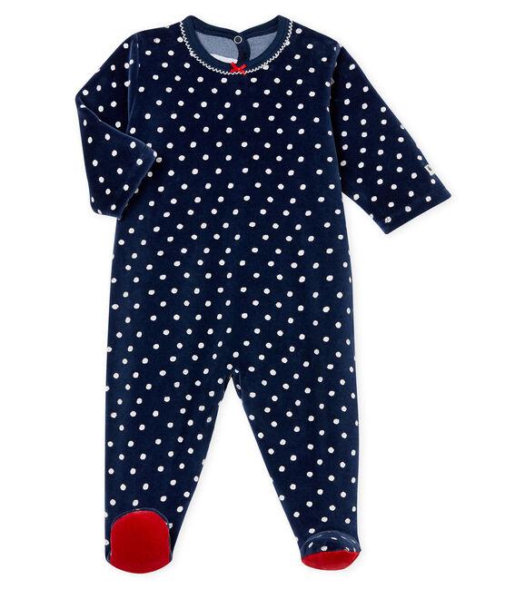 Baby-Strampler aus Samt für Mädchen blau Haddock / weiss Ecume