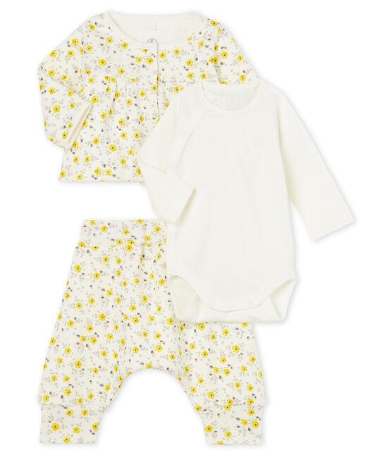 3-teiliges Baby-Set aus Wolle und Baumwolle für Mädchen weiss Marshmallow / weiss Multico