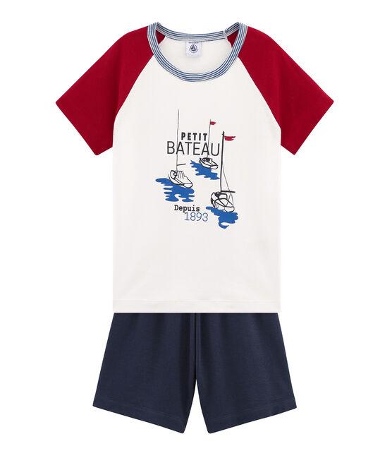 Rippstrick-Kurzpyjama für kleine Jungen blau Smoking / weiss Multico
