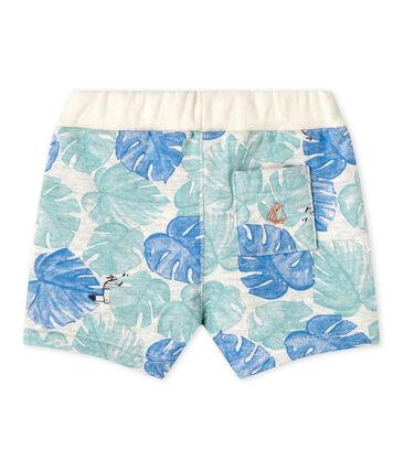 Bedruckte Baby-Jungen-Shorts grau Beluga / weiss Multico