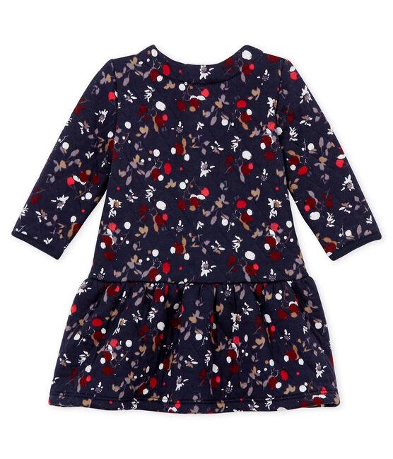 Bedrucktes Baby MädchenKleid blau Smoking / weiss Multico