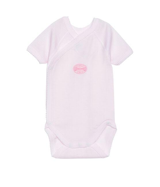 Wickelbody für Mädchen, Kurzarm, geringelt rosa Vienne / weiss Ecume