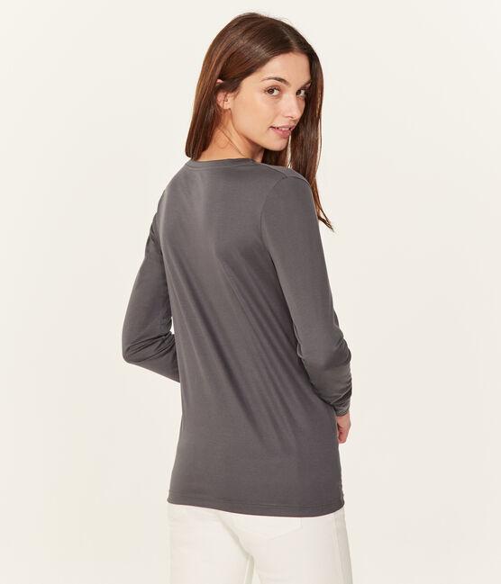 Langärmeliges damen-t-shirt sea island aus baumwolle grau Maki