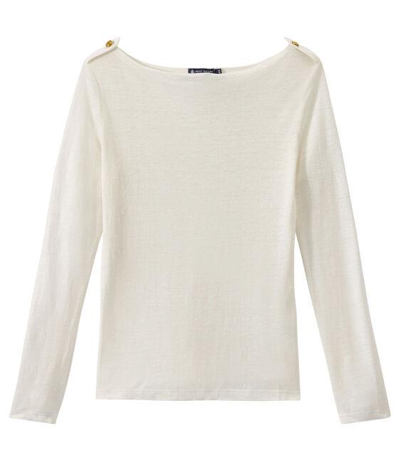 Damen-T-Shirt aus Leinen weiss Lait