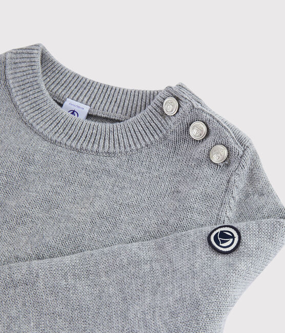 Kinderpullover aus Wolle und Baumwolle grau Subway