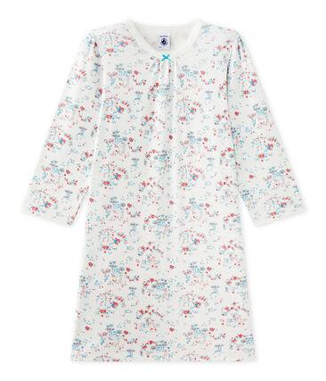 Bedrucktes Mädchen-Nachthemd weiss Lait / weiss Multico