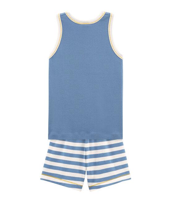 Rippstrick-Kurzpyjama für kleine Jungen blau Alaska / weiss Marshmallow