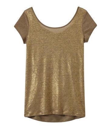 Damen-T-Shirt mit Wasserfall-Ausschnitt aus irisierendem Leinen