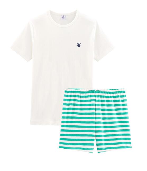 Rippstrick-Kurzpyjama für Jungen grün Esperanza / weiss Marshmallow