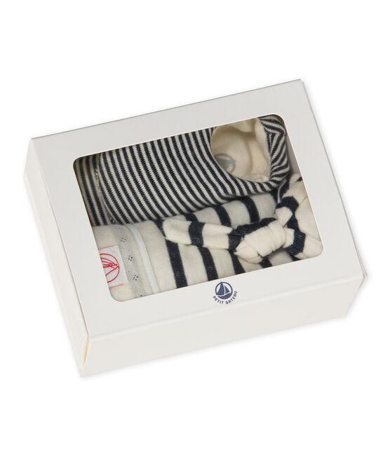 Set aus Baby-Mütze und -Schuhen für Neugeborene beige Coquille / blau Smoking