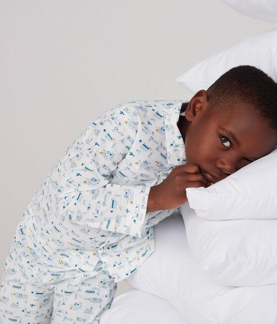 Leinen-Pyjama für kleine Jungen weiss Marshmallow / blau Shadow