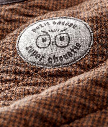 Baby-Sweatshirt aus Doppeljersey in Hahnentrittmuster für Jungen schwarz City / braun Cocoa