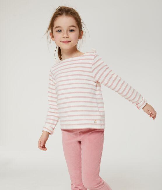 Kinder-Streifenshirt Mädchen weiss Marshmallow / rosa Joli Brillant