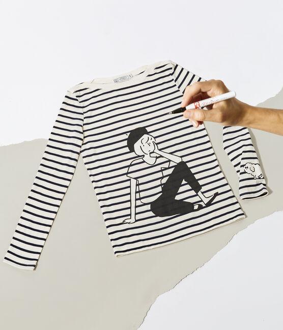 Gestreiftes T-Shirt für Damen beige Coquille / blau Smoking