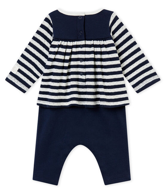 Langer Baby MädchenOverall blau Smoking / weiss Marshmallow