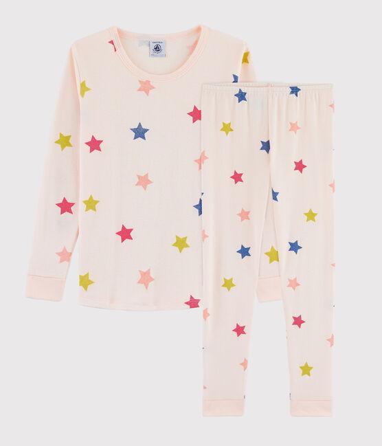 Snugfit-Pyjama mit Sternen aus Rippstrick für Mädchen rosa Fleur / weiss Multico