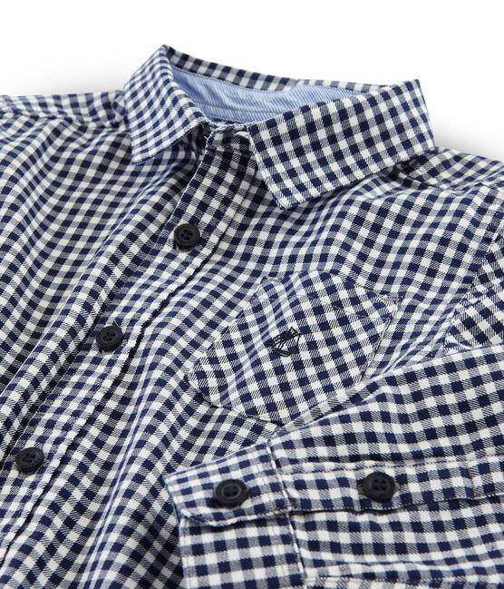 Hemd mit Karomuster für Jungen blau Medieval / weiss Lait