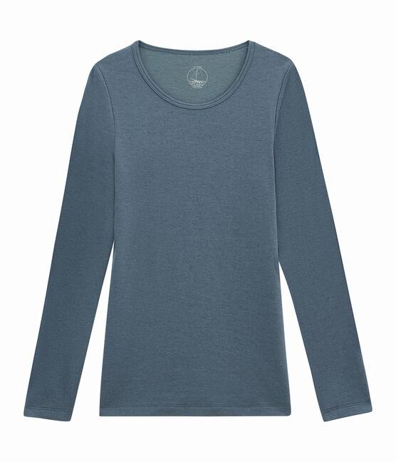 damen langarmshirt blau Turquin