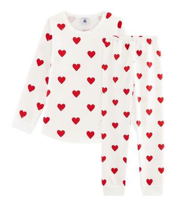 Molton-Pyjama für kleine Mädchen-Jungen weiss Marshmallow / rot Terkuit