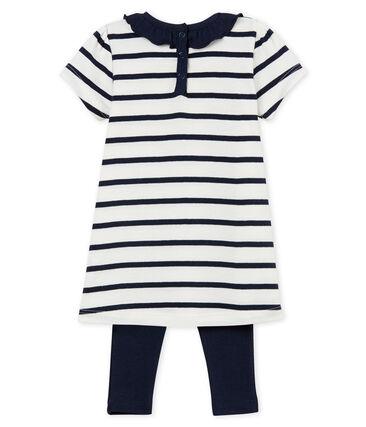 Gestreiftes kurzärmeliges baby-kleid und legging mädchen