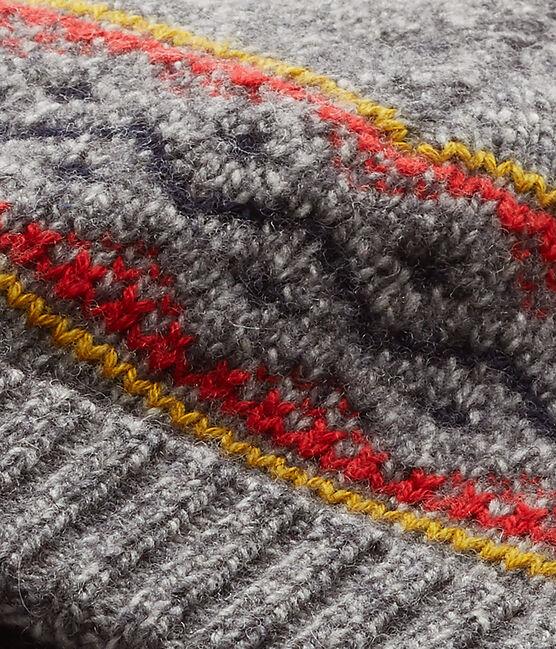 Jungen-Mütze aus Jersey mit Wollanteil grau Subway / weiss Multico