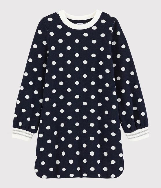 Langärmeliges Kinderkleid für Mädchen blau Smoking / weiss Marshmallow