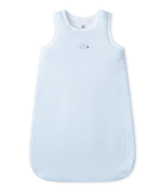 Geringelter Baby-Jungen-Schlafsack blau Fraicheur / weiss Ecume