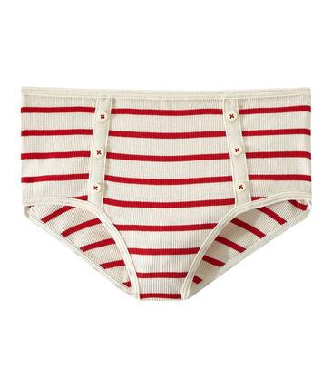 Highwaist Unterhose aus Ripp 2x2 beige Coquille / rot Terkuit