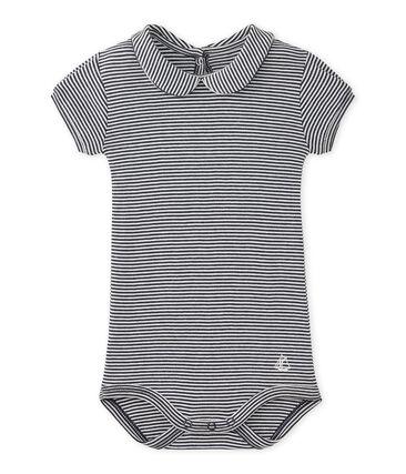 Gestreifter Baby-Mädchen-Body mit Kragen
