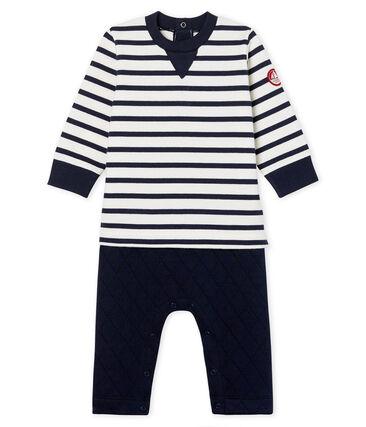 Langer Baby-Overall in Zweiteileroptik für Jungen weiss Marshmallow / blau Smoking