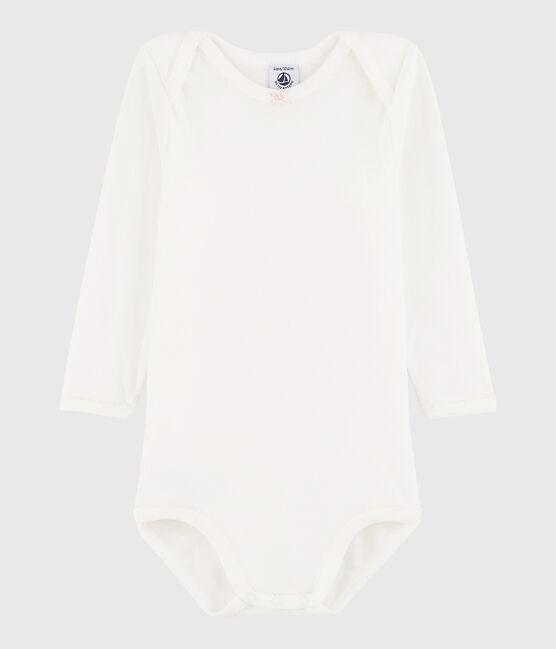 Langärmeliger Baby-Body Mädchen weiss Marshmallow / rosa Minois