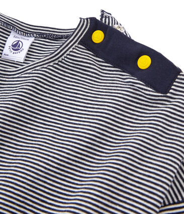 Langärmeliges Kinder-T-Shirt Mädchen blau Smoking / weiss Marshmallow
