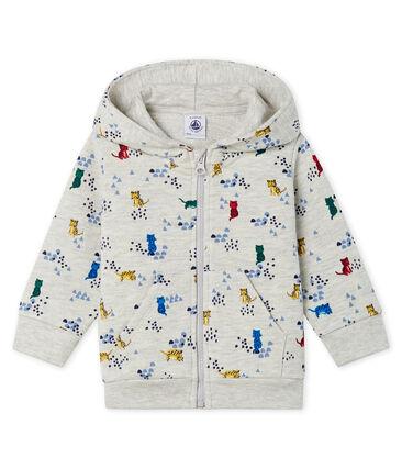 Gemustertes Baby-Kapuzensweatshirt aus Molton für Jungen. grau Beluga / weiss Multico