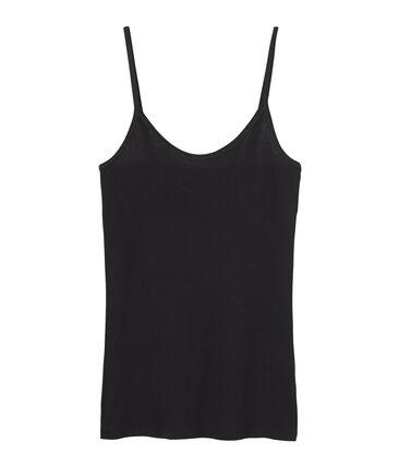 Trägerhemd damen aus leichter baumwolle schwarz Noir