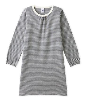 Mädchen-Nachthemd mit Milleraies-Ringelmuster blau Smoking / beige Coquille