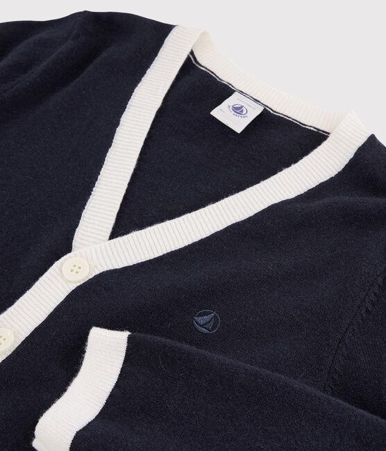 Kinder-Cardigan aus Wolle für Jungen blau Smoking / weiss Marshmallow
