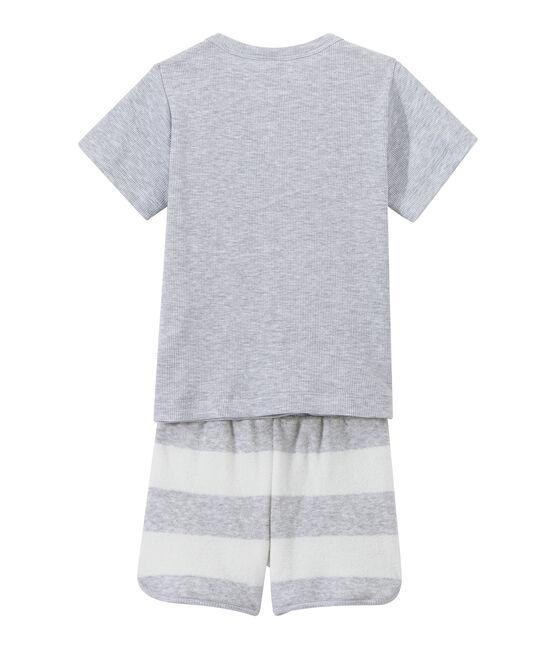 Kurzer Jungen-Schlafanzug im Materialmix grau Poussiere / weiss Lait