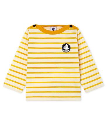 Langärmeliges Baby-T-Shirt für Jungen weiss Marshmallow / gelb Boudor