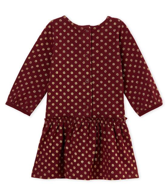 Mit goldenen Punkten bedrucktes Baby MädchenKleid rot Ogre / gelb Dore