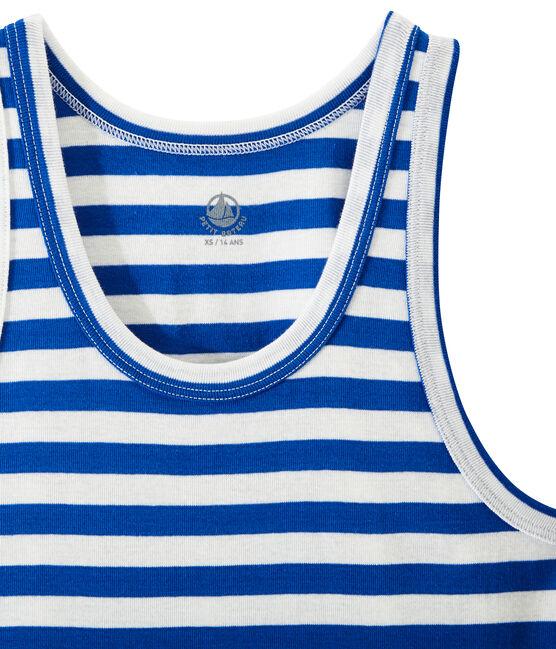 Gestreiftes Damen-Top aus Original-Rippstrick blau Perse / weiss Marshmallow