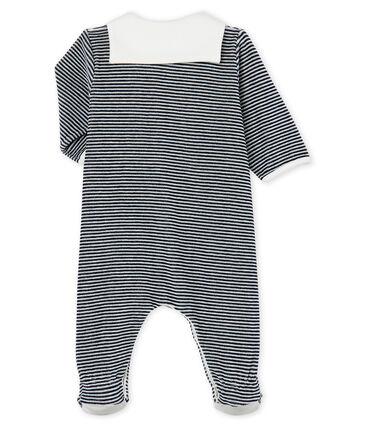 Baby-Strampler aus Velours für Jungen blau Smoking / weiss Marshmallow