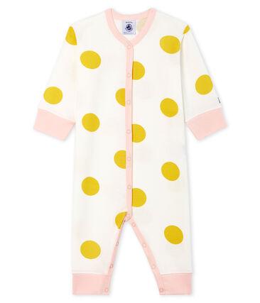 Baby-Strampler ohne Fuß aus Rippstrick für Mädchen weiss Marshmallow / gelb Ble