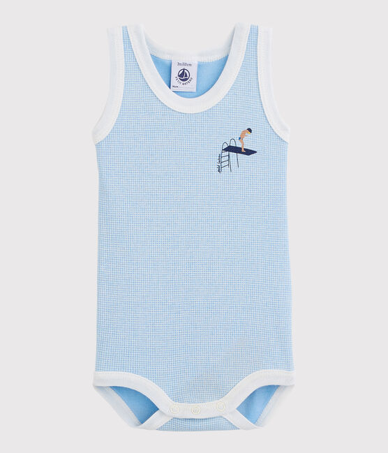 Ärmelloser Baby-Body Jungen blau Placid / weiss Marshmallow