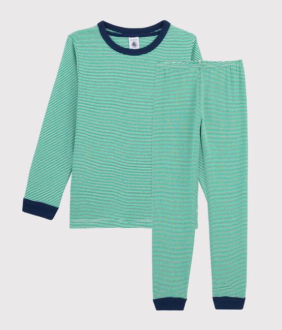 Rippstrick-Pyjama mit grünem Ringelmuster für kleine Jungen grün Prado / weiss Marshmallow
