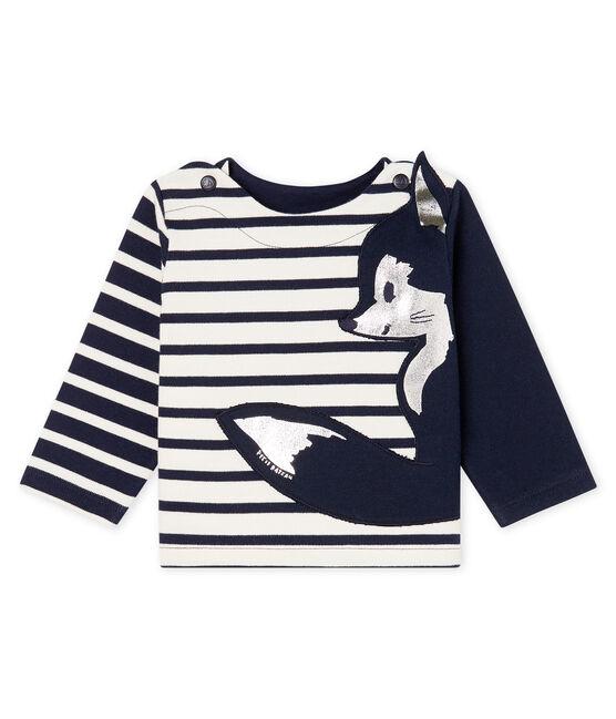 Neu interpretiertes Baby-Streifenshirt für Jungen beige Coquille / blau Smoking